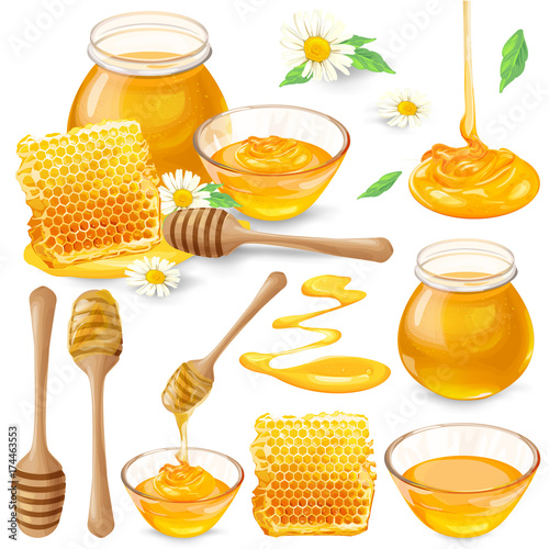 Fotografía Set of vector illustrations of honey in honeycombs, in a jar dripping from a honey bucket, isolated on a white background in a realistic style