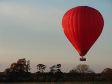 Hot Air Balloon Over English Landscape