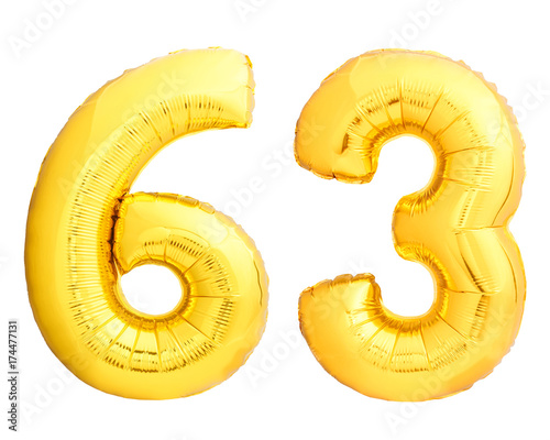 Fotografia  Golden number 63 sixty three made of inflatable balloon