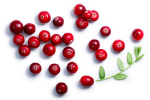 Cranberries With Leaves, Top View, Paths