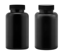 Black Plastic Bottle Isolated On White Background.