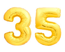 Golden Number 35 Thirty Five Made Of Inflatable Balloon