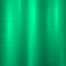 Green Metal Technology Background With Abstract Polished, Brushed Texture, Chrome, Silver, Steel, Aluminum For Design Concepts, Wallpapers, Web, Prints And Posters. Vector Illustration.