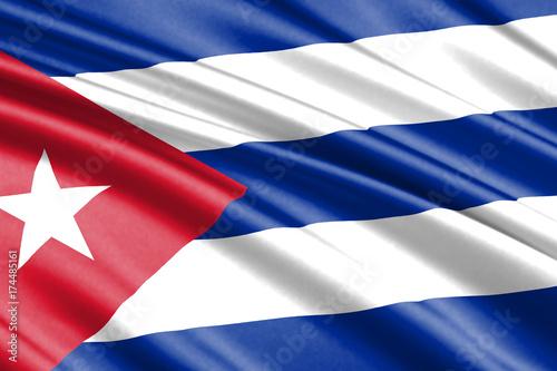 waving flag cuba Canvas Print