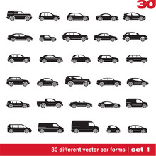 Cars Icons Set. 30 Different Vector Car Forms