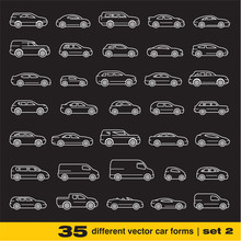 Cars Icons Set. 35 Different Outline Vector Car Forms