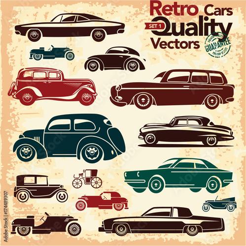 Plakaty stare samochody   zestaw-ikon-retro-samochodow-wektory-zabytkowych-samochodow