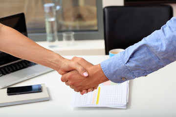 Left handed business handshake