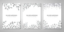 Banners Set With Silver Floral Patterns On White