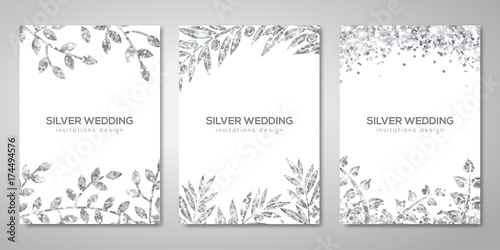 Fotografía  Banners set with silver floral patterns on white