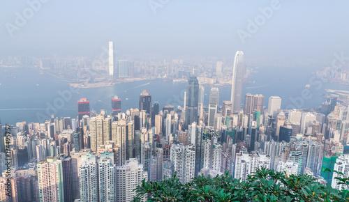 Obraz na dibondzie (fotoboard) Panorama Hongkongu w dzień