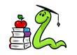 canvas print picture - bookworm book teaching cartoon illustration