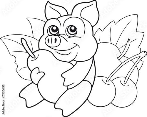 In de dag Cartoon draw funny cartoon pig with a pear
