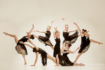The group of modern ballet dancers