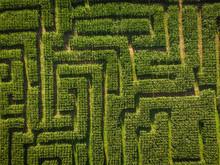Aerial Of Corn Maze Farm