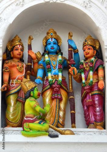 Statues of Sri rama,Sita ,Lakshman and Hanuman on the temple wall