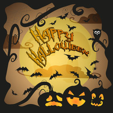 Happy Halloween Card With Funny Jack O Lanterns And Bats
