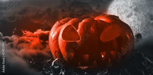 Composite image of jack o lantern with leaves on table Plakat