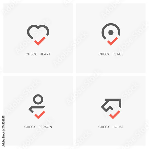 Check mark logo set  Heart, place pointer, person and house