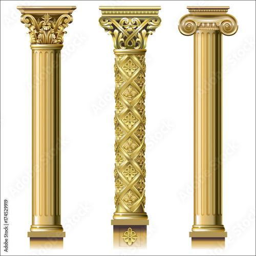 Fotografía  Set of classic gold columns