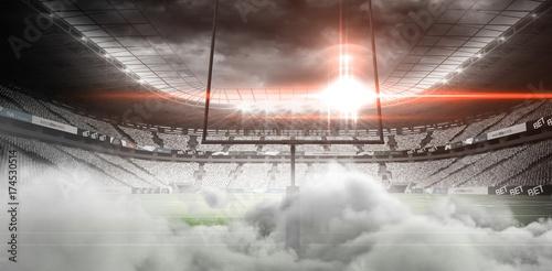 Canvastavla Digital image of goal post at American football stadium