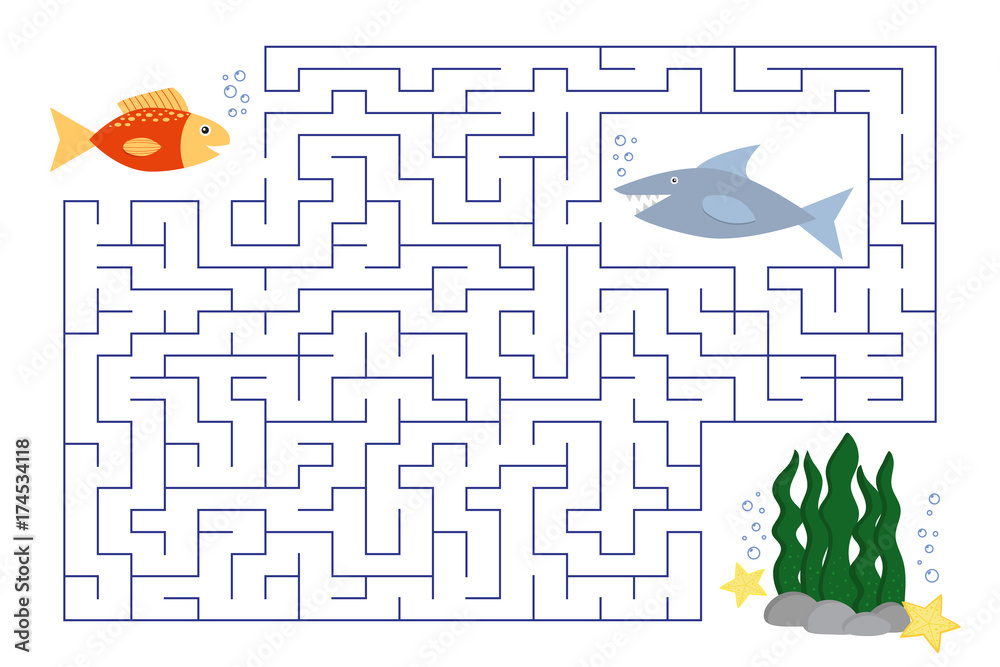 Fototapeta Funny maze for children, the underwater world, a small fish looking for a coral reef, beware of the hungry shark. Labyrinth for preschool and school kids. Vector illustration.
