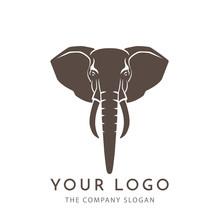 Head Elephant  Brown Logo Sign Emblem Isolated