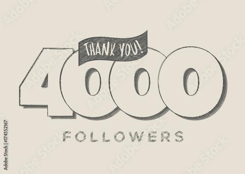 Fototapeta Thank you! 4000 Followers Scribble