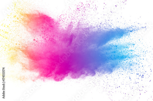 abstract multicolored powder splatted on white background,Freeze motion of color powder exploding - fototapety na wymiar