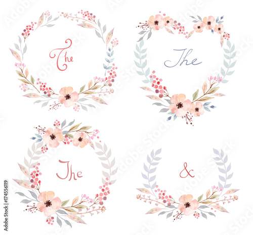 Foto op Aluminium Vlinders in Grunge Vector Set of cute retro flowers arranged un a shape of the wreath perfect for wedding invitations and birthday cards