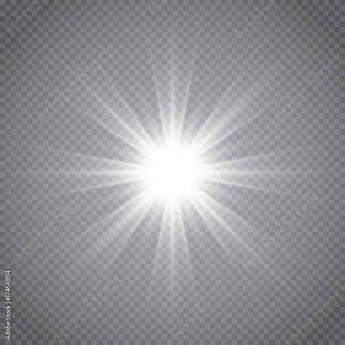 Photo  White glowing light burst explosion with transparent