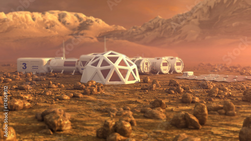 Tuinposter Zalm Mars planet satellite station orbit base martian colony space landscape. Elements of this image furnished by NASA.