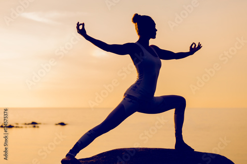 Fotografie, Obraz  caucasian fitness woman practicing yoga