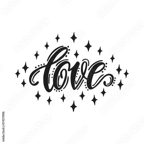 Stampa su Tela  Love. Hand drawn lettering design.