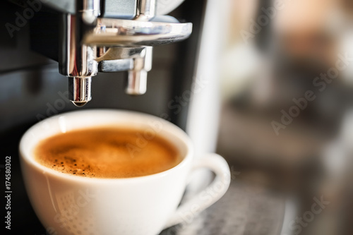 Fotografering Espresso machine making fresh coffee