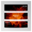 Vector template of banners with fire shapes.