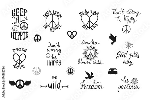 Fotomural  1554443 Vector set of hand drawn calligraphy phrases