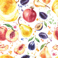Seamless fruit pattern with Melon, Pear, Peach, Plum, Pomegranate, Watercolor painting