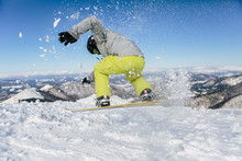 Snowboarder Ride Down The Hill