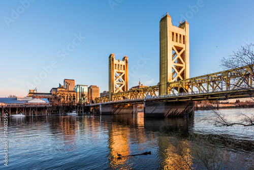 Gold Tower Bridge in Sacramento California during blue sunset with downtown and goose on floating log