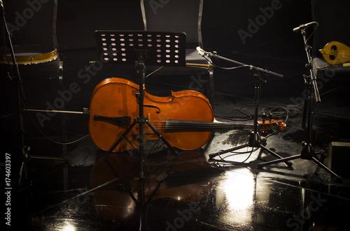 Zdjęcie XXL muzyka wiolonczelowa muzyka orkiestra muzyka na scenie sala koncertowa