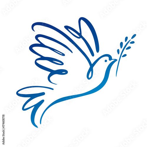 Dove of peace icon. Flying bird. Peace concept. Canvas