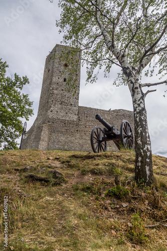 Plakat Checiny, Cannon on Castle, Kielce, swietokrzyskie, poland