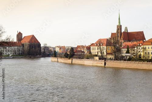 Obraz na dibondzie (fotoboard) Wrocław i Ostrów Tumski
