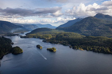 Skookumchuck Narrows with Sechelt Inlet in the Background. Taken North of Sunshine Coast, British Columbia, Canada, during a cloudy evening.