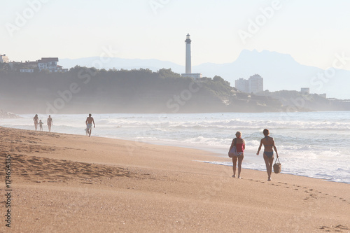 Photo beach of the madrague with anglet and lighthouse of biarritz