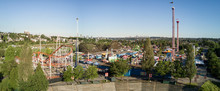 Vancouver, British Columbia, Canada - Aerial Panoramic View Of Playland Amusement Park During A Bright Sunny Day.