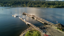 Aerial View On A Wooden Quay A...