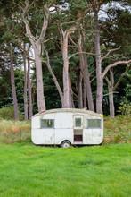 Abandoned Caravan On An Edge Of A Woodland. Scotland, UK, Europe