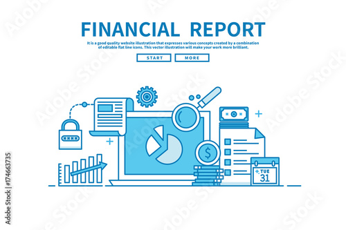 Plakat do biura rachunkowego  flat-line-vector-editable-graphic-illustration-business-finance-concept-financial-report